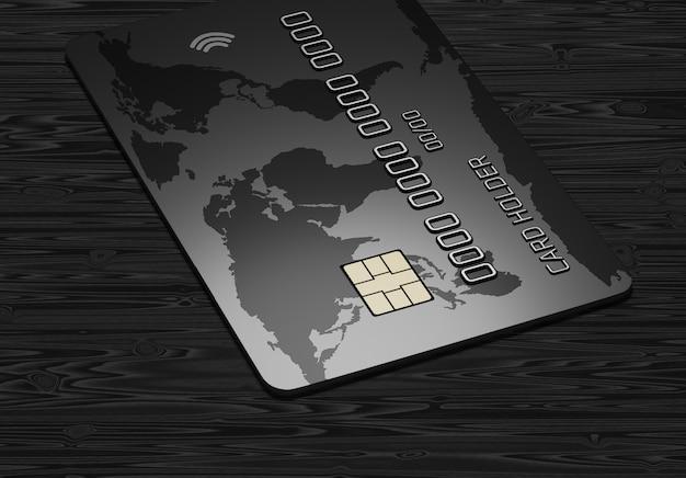 Carta di credito su uno sfondo di legno scuro. rendering 3d.