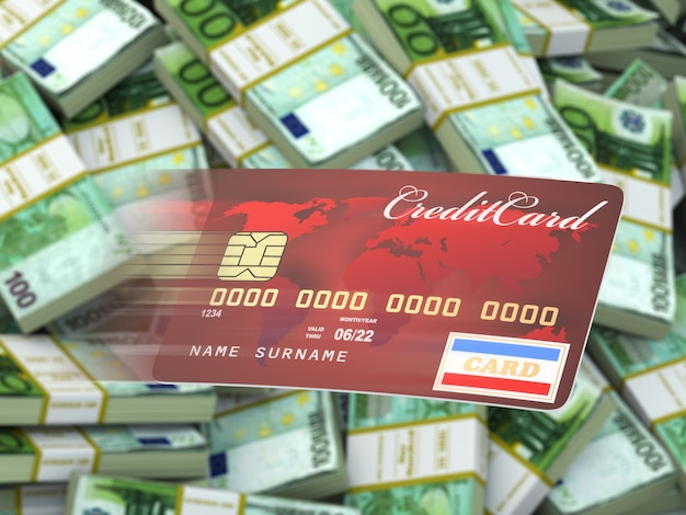 Carta di credito su sfondo di pacchi di euro. 3d