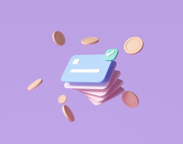 Carta di credito, monete galleggianti intorno su sfondo viola. risparmio di denaro, concetto di società senza contanti. illustrazione rendering 3d