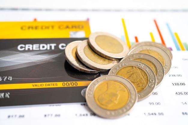 Modello di carta di credito e monete con scatola del carrello sviluppo finanziario contabilità
