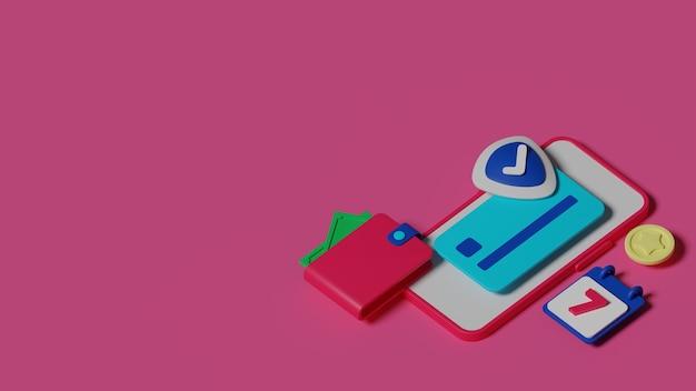Rendering 3d di concetto di pagamento con carta di credito