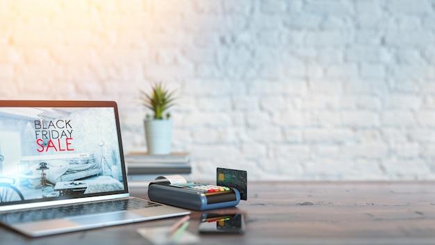 La carta di credito e il prodotto online vendita del black friday 3d rendering e illustrazione