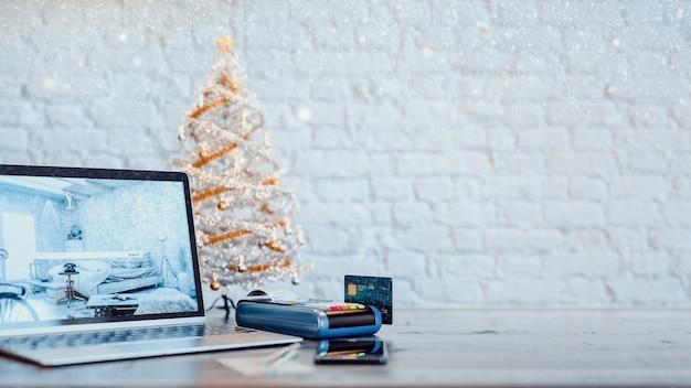 La carta di credito e il prodotto trading online natale rendering 3d e illustrazione