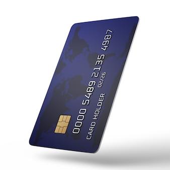 Carta di credito in posizione verticale su uno sfondo bianco. numero di carta fittizia. visualizzazione 3d