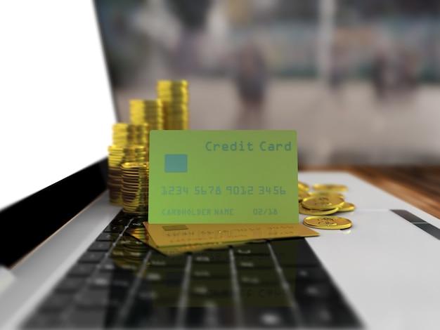 Carta di credito oro su un computer portatile.