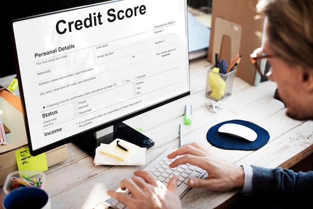 Concetto di economia bancaria finanziaria del punteggio di credito