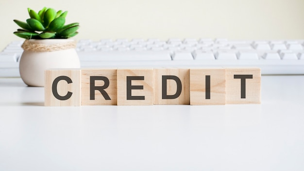 Parola di credito realizzata con blocchi di legno. concetti di vista frontale, pianta verde in un vaso di fiori e tastiera bianca sullo sfondo