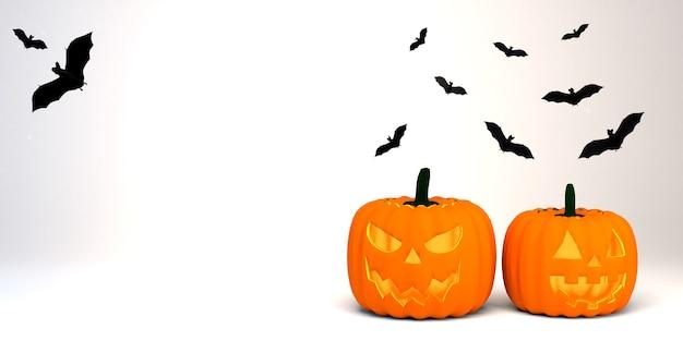 Zucche raccapriccianti con pipistrelli. bandiera di halloween. illustrazione 3d.