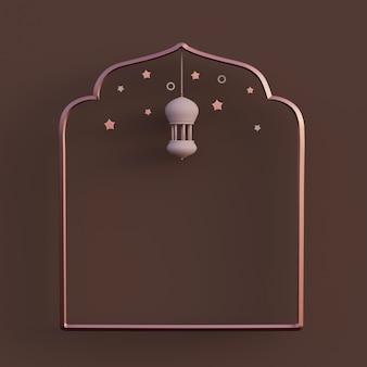 Falce di luna lanterna araba ramadan kareem mawlid iftar isra miraj 3d rendering