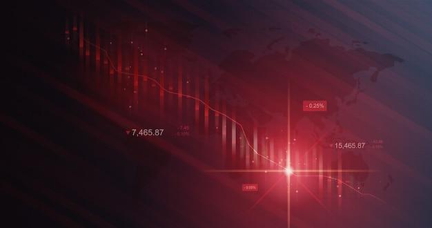 Grafico del mercato di crisi del grafico azionario di perdita di affari o dati finanziari di investimento di arresto su fondo del diagramma di diminuzione con finanza di scambio di guasto giù