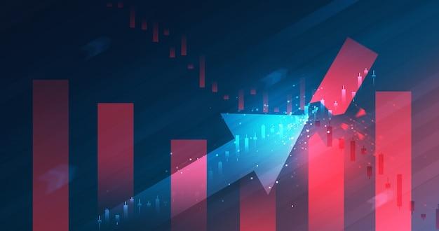 La crisi del grafico di mercato crolla e il business aumenta il grafico azionario o il profitto dei dati finanziari di investimento sullo sfondo del diagramma di crescita con informazioni di scambio.