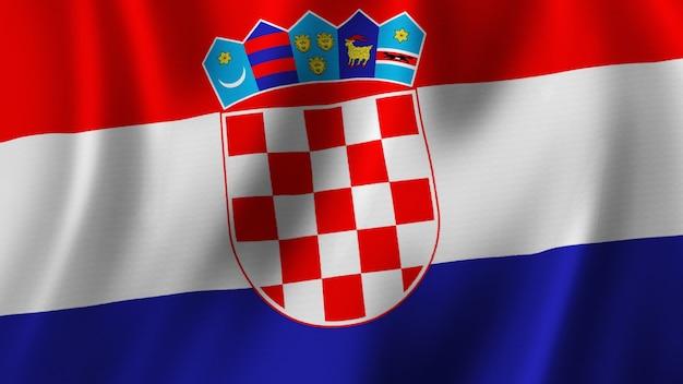 Rendering 3d del primo piano della bandiera della croazia con immagine di alta qualità con struttura del tessuto