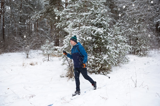 Sci di fondo nella foresta invernale