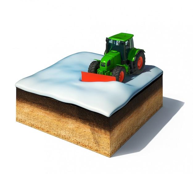 Sezione trasversale di terra con il trattore spazzaneve che rimuove la neve isolata su bianco