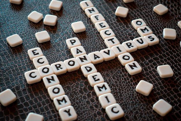 Pezzi del gioco di parole crociate che formano alcune parole legate al coronavirus