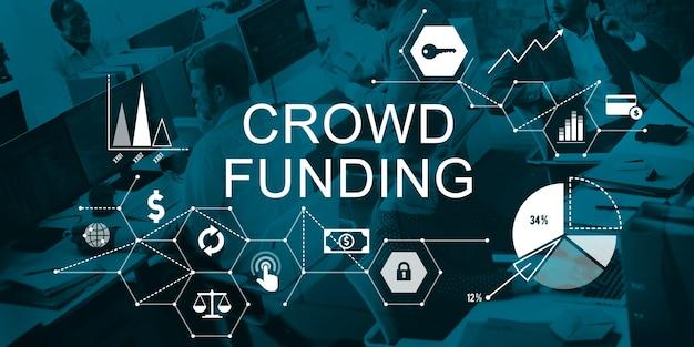 Crowd funding sostenitori investment fundraising contributo concept