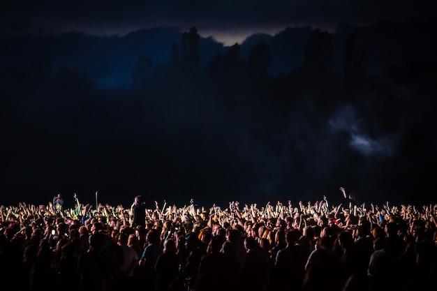 Folla di spettatori in un concerto notturno illuminato da un riflettore dal palco