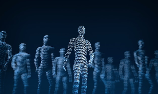 Folla di camminare persone digitali rendering 3d