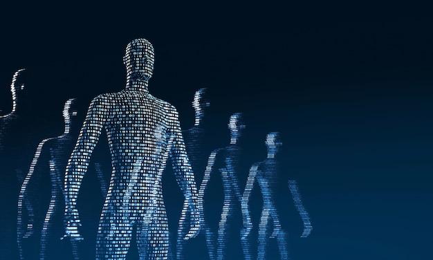 Folla di persone digitali che camminano. il concetto di simbiosi tra uomo e tecnologia. integrazione del computer negli esseri umani. rendering 3d