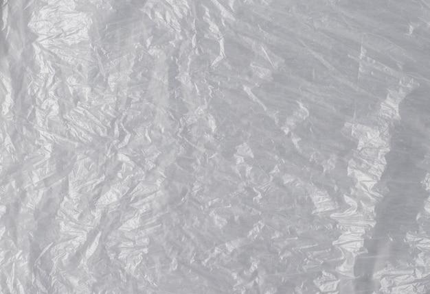 Trama di polietilene chiaro lucido spiegazzato