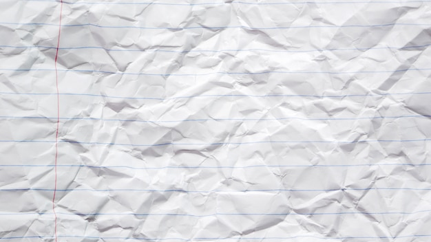 Sfondo bianco carta stropicciata. lettera del taccuino