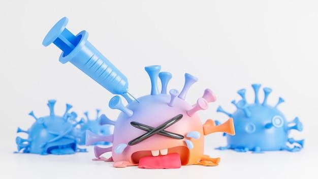 Piangere il simpatico personaggio del virus della colona arancione e blu che viene iniettato con la siringa su sfondo bianco., vaccino covid-19., modello 3d e illustrazione.