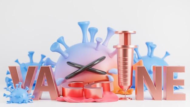 Piangere carino arancione e blu colona virus carattere e testo vaccino su sfondo bianco., vaccino covid-19., modello 3d e illustrazione.