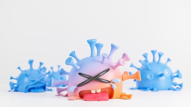 Piangere simpatico personaggio del virus della colona arancione e blu su sfondo bianco, vaccino covid-19., modello 3d e illustrazione.