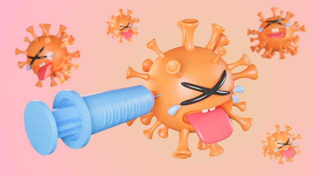 Piangere il simpatico personaggio del virus della colona arancione che viene iniettato con la siringa su sfondo pastello., vaccino covid-19., modello 3d e illustrazione.