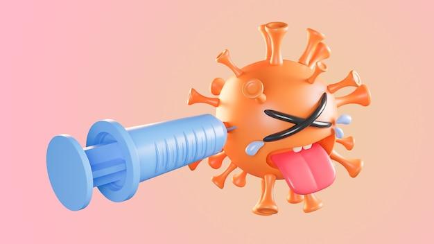 Piangere il carattere del virus della colona arancione carino che viene iniettato con la siringa su sfondo pastello.