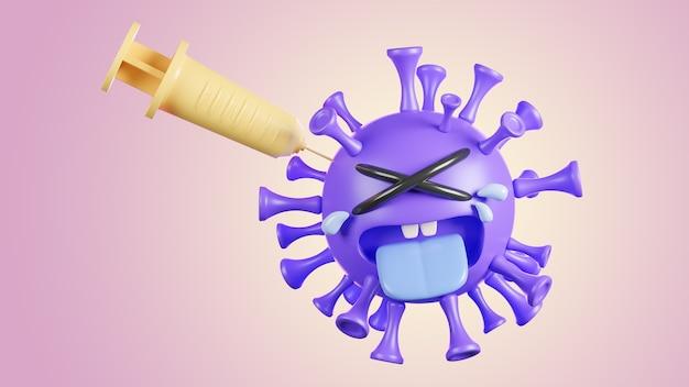 Piangere simpatico personaggio viola del virus della colona che viene iniettato con una siringa su sfondo pastello., vaccino covid-19., modello 3d e illustrazione.