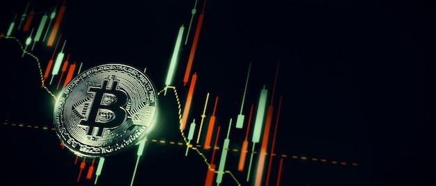 Criptovaluta bitcoin e barra del grafico del mercato azionario. criptovaluta. crescita delle scorte di bitcoin. investire in risorse crypto. piattaforma di investimento con grafici e moneta bitcoin. denaro digitale del mercato azionario.