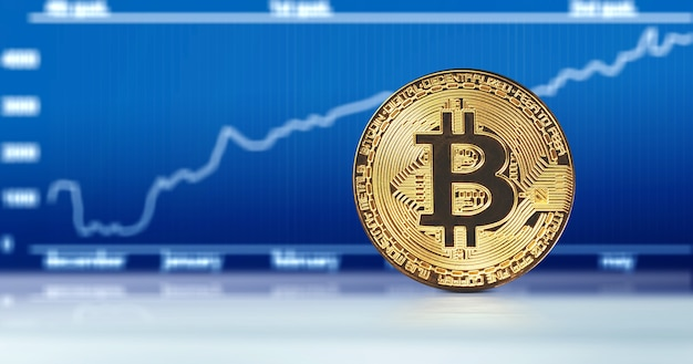 Concetto di criptovaluta. andamento dei tassi di cambio bitcoin. ascesa e caduta di bitcoin.