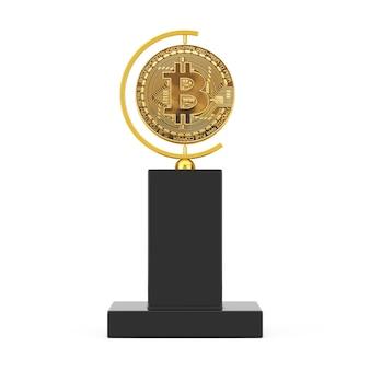 Criptovaluta golden bitcoin coin award trophy su sfondo bianco. rendering 3d