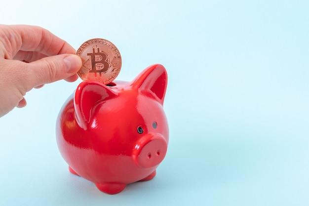 Concetto di risparmio di criptovaluta. una mano tiene una moneta bitcoin su un salvadanaio rosso su sfondo blu.