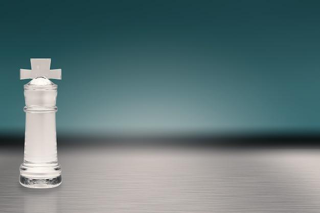 Re degli scacchi di cristallo su sfondo blu