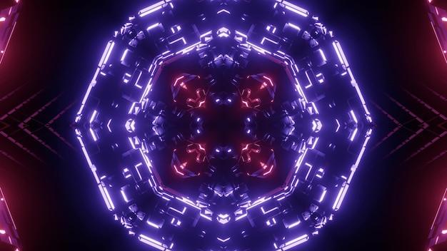 Tunnel a forma di cristallo con ornamento astratto incandescente con sfondo di luce al neon viola