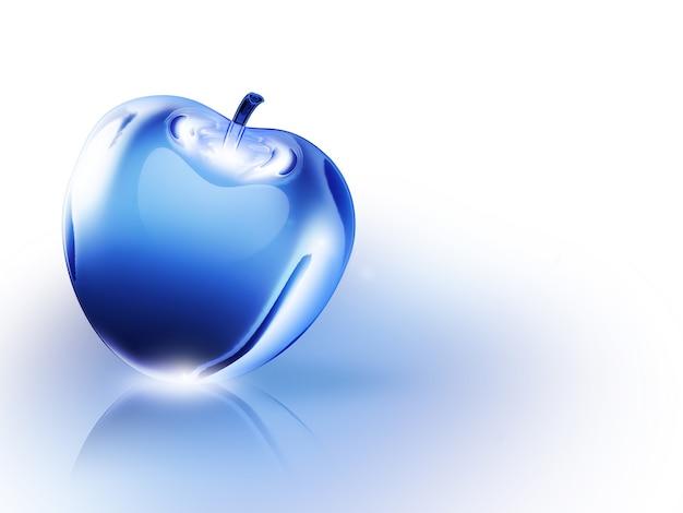 Mela blu cristallina su sfondo bianco