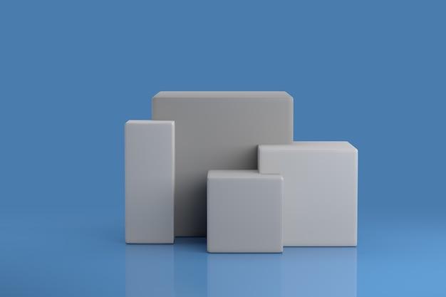 Modello di piedistallo cubo. scena in studio per la visualizzazione del prodotto. rendering 3d