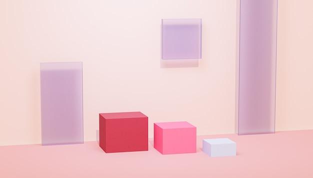 Podio cubo o piedistalli per prodotti o pubblicità su sfondo beige pastello, rendering 3d