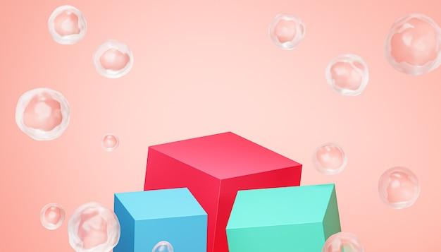 Podio cubo o piedistalli per prodotti o pubblicità con bolle su sfondo beige, rendering 3d