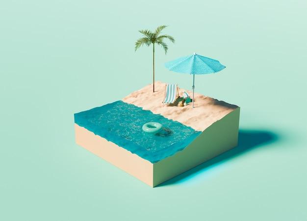 Cubo con spiaggia isometrica su sfondo turchese
