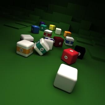 Palle da biliardo cubiche contro un tavolo di feltro verde