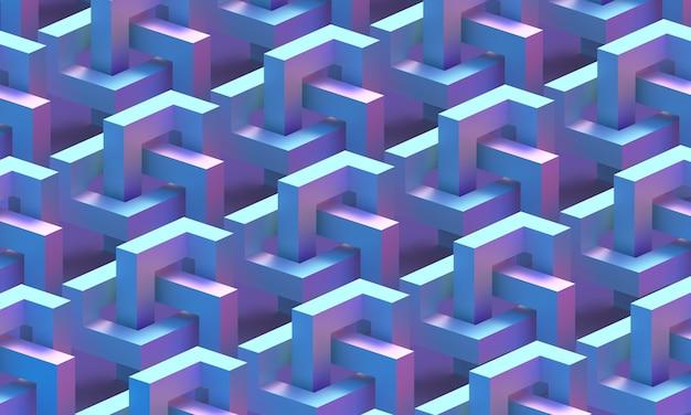 Geometria cubica di una figura infinita blu e magenta pattern