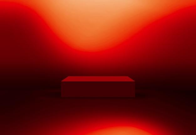 Palcoscenico cubico in luce su sfondo rosso a tema serie concept 1109