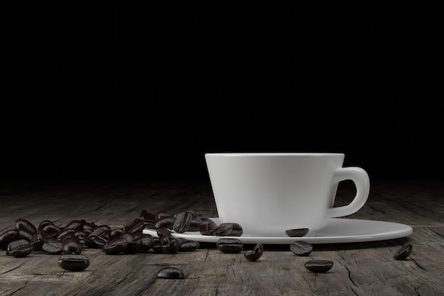 Tazza e chicchi di caffè su legno, rendering 3d.