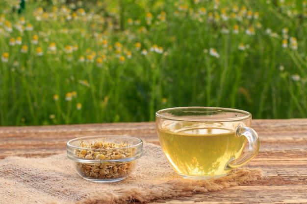 Tazza di tè verde e piccola ciotola di vetro con fiori secchi di matricaria chamomilla su tavole di legno e giardino con fiori freschi sullo sfondo.