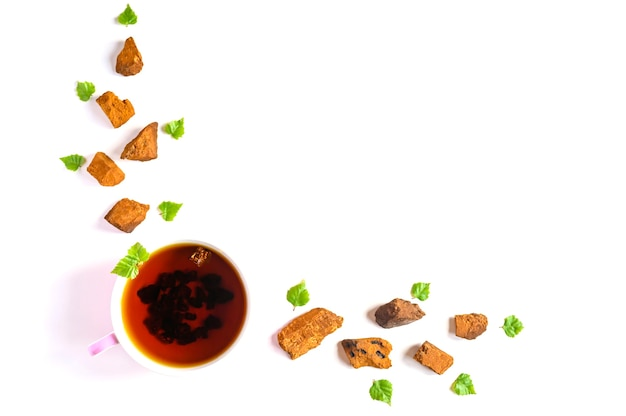 Tazza di tè di betulla chaga funghi e pezzi di funghi chaga schiacciati per la preparazione del tè isolato su uno sfondo bianco. spazio per il testo