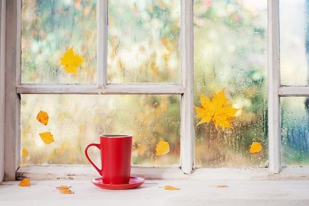 Tazza di tè sul davanzale di legno bianco in autunno