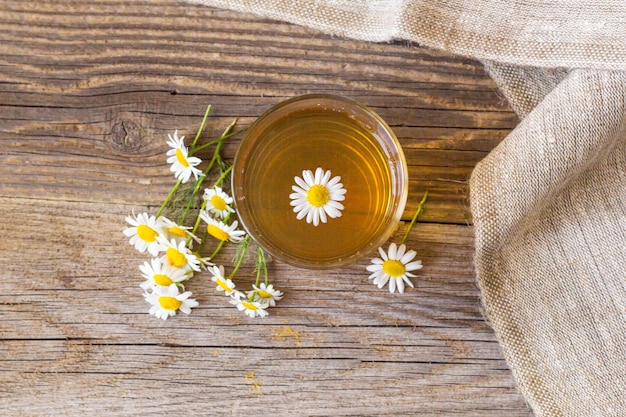 Tazza di tè con fiori di camomilla su fondo di legno rustico.